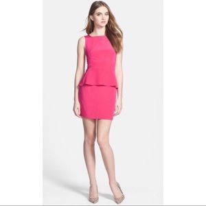 REBECCA MINKOFF Pink Sleeveless Peplum Silk Dress